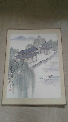 vintage Chinese painting with silk border