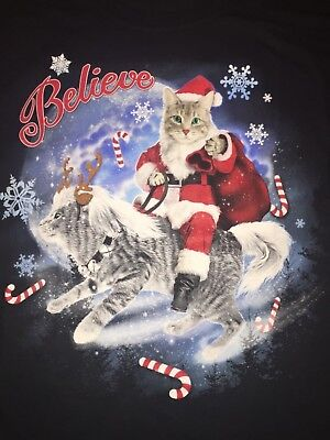 SANTA Claus Christmas reindeer KITTY Cat Kitten pet Tabby Calico MEN'S T-Shirt