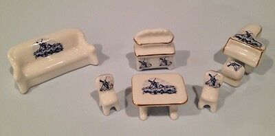 Vintage Miniature Porcelain Dollhouse Windmill Piano Table Couch Chairs