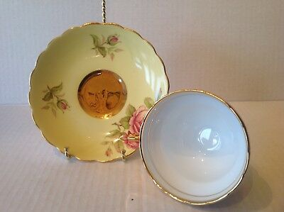 Vtg Rosina Yellow Waisted Teacup and Saucer Pink Roses Heavy Gold Gilding