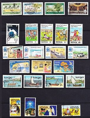 Kenya 1986 USED stamp collection (inc dhows & Xmas sets, World Cup football etc)