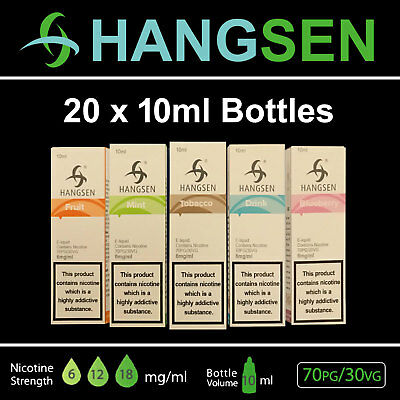 20 X 10ml HANGSEN E LIQUID (6,12,18mg) E CIGARETTE ELIQUID REFILL VAPE JUICE