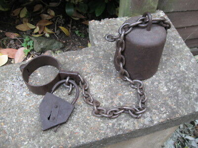 Antique Leg/hand Shackle,weight And Padlock.criminal Justice.very Old
