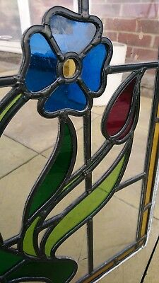 Lovely Large Edwardian Stained Glass Window / Glass Pannal With Stunning Flowers