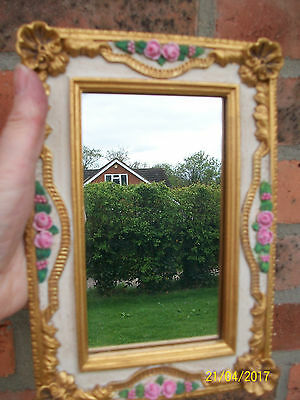 Mirror.Victorian or Edwardian Style Free Standing .Gold Frame and Pink Roses