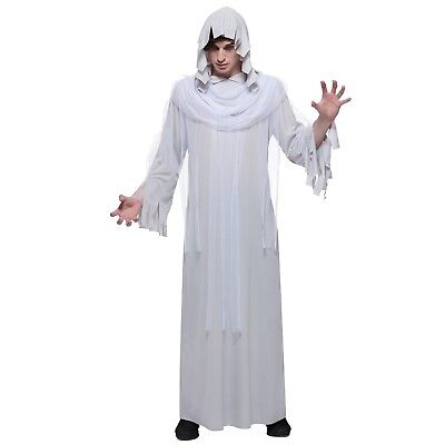 Ghost Halloween Costume Hooded Robe White Gray Mens Adult One Size
