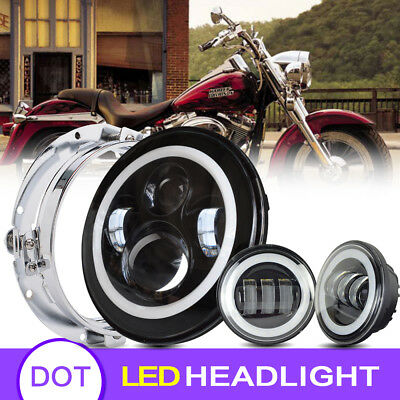 """Blackout 7"""" LED Halo Headlight with Auxiliary Halo Passing Fog Light For Harley"""