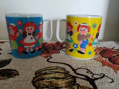 Pair Of Vintage Play Time Raggedy Ann & Andy Ceramic Mugs Cups Used