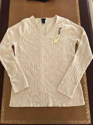 New GAP Maternity Cream/light Beige Cable V Neck sweater Xlarge XL 16-18