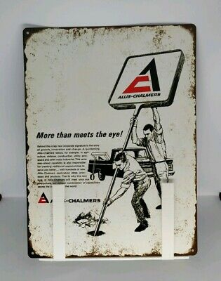 "1965 Allis-Chalmers Logo Pickup Truck Man Cave Metal Sign Repro 9x12"" 60413"