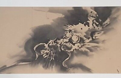A Stunning Meiji Period Sumi-e Ink Painting Of A Water Dragons Head.