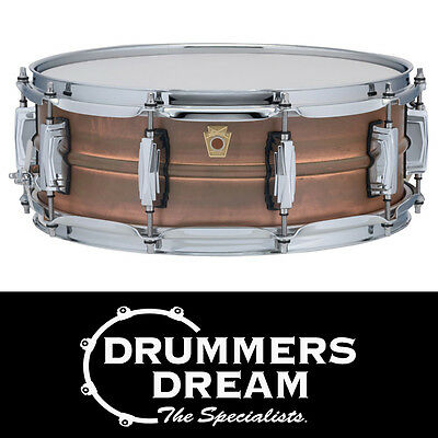 """Ludwig Copperphonic 14x5"""" Snare Drum RRP $1449 Smooth Raw Copper Shell"""