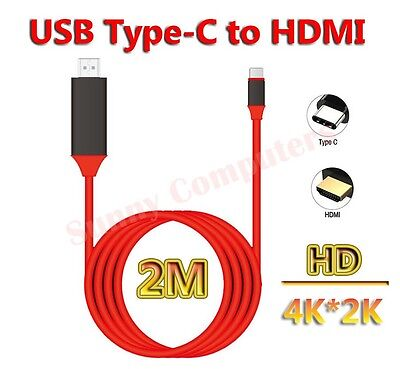 2M USB 3.1 Type-C to HDMI HDTV Adapter Cable 4K HD For Microsoft Surface Book 2