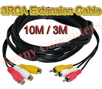 3RCA 3 RCA Male to Female M/F AV Composite Extension Adapter Cable DVD 10M 3M AU