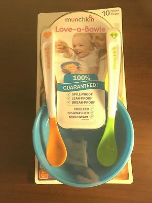 Munchkin Love A Bowls baby feeding bowls lids spoons 10 pieces