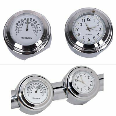 """7/8"""" 1"""" Motorcycle Handlebar Clock Thermometer Combo White Dial Motorbike Riding"""