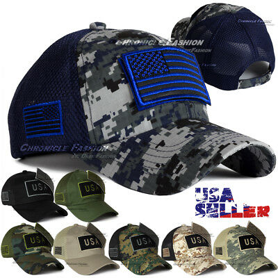 USA American Flag Trucker Hat Baseball Cap MeshBack Tactical Military Camouflage