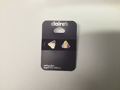 Claire's Sterling Silver Pierced Earrings 925 Ice Cream Emoji New F31
