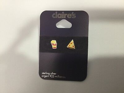 Girls Sterling Silver Pierced Earrings 925 French Fries Pizza New F31