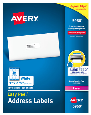 Avery 5160/5960/8160 Address Labels 30 Labels/sheet 150/300/600 Labels