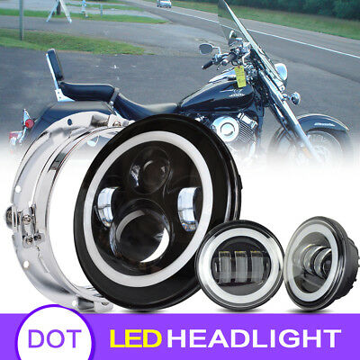 """Blackout 7"""" LED Halo Headlight with Auxiliary Halo Passing Fog Lamps For Harley"""