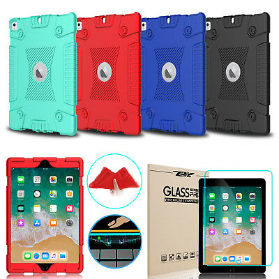 For iPad 6th Generation 2018 9.7 Shockproof Silicone Case Cover+Screen Protector