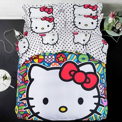 Kids Girls Hello Kitty Bedding Set Cotton Sheet Duvet Quilt Cover+ Pillowcases