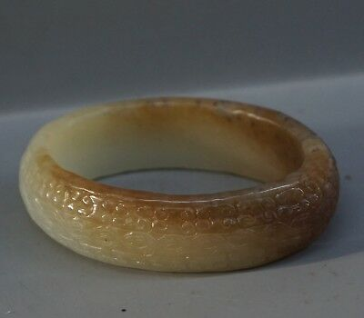 Chinese Exquisite Hand-carved Auspicious clouds natural Hetian jade bracelet