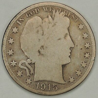 1915-D 50C Barber Silver Half Dollar (Tooled - Read Description)  (110418)