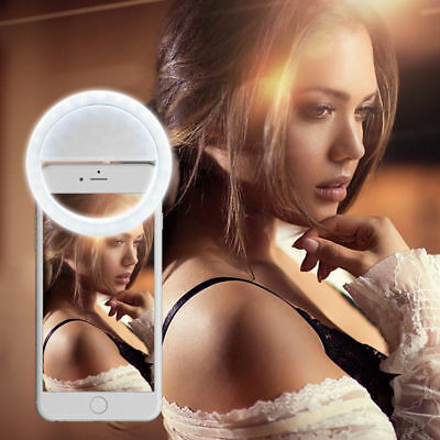 Portable 36 LEDs Selfie Ring Clip Fill Flash Light Lamp For iPhone Rechargeable