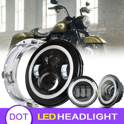 """Blackout 7"""" LED Halo Headlight with Auxiliary Passing Lamps For Harley"""