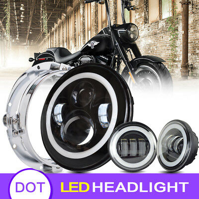 """Blackout 7"""" LED Halo Headlight with Auxiliary Halo Passing Lamps For Harley"""