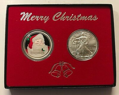 2018 SILVER EAGLE & 2018 CHRISTMAS 1 oz. GIFT BOXED .999 FINE SILVER ROUND  #12