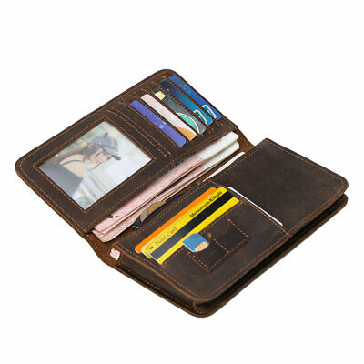 Men's Real Leather Long Slim Wallet ID Card Coin Holder Checkbook Billfold Purse