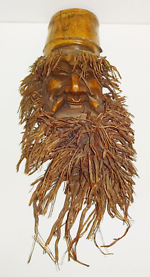 Vintage Wooden Hand Carved Chinese Mask Wall Hanging Wood Asian Mans Face Beard