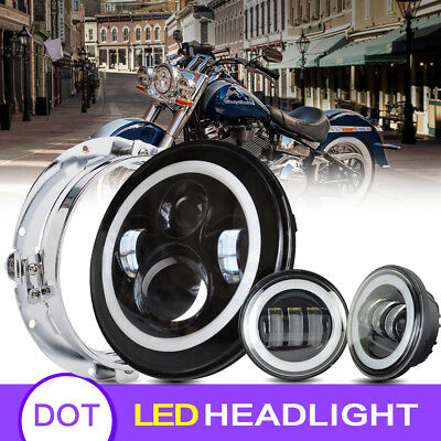 """Blackout 7"""" LED Halo Headlight with Auxiliary Passing Fog Lamps For Harley"""