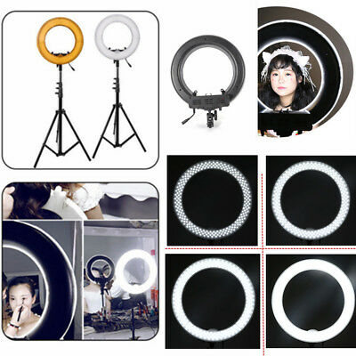 "12"" Ring LED Light Lamp Dimmable Adjustable Tripod Kit for Video Shoot Camera US"
