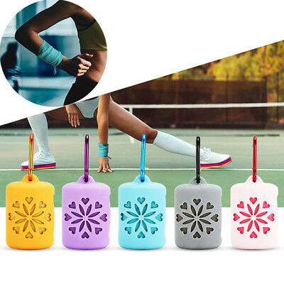 HK- Silicone Case Instant Cooling Towel ICE Cold Cycling Gym Sports Outdoor Sigh