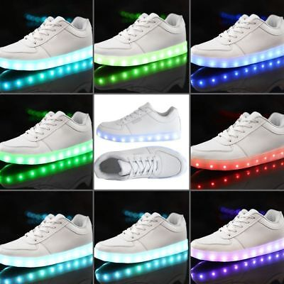 Unisex LED Low Top Light Up Shoes Flashing Sneakers USB Casual Lace-up Shoes 1OC