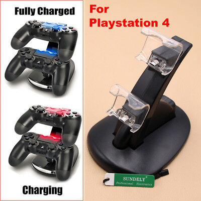 UK Black Dual Controller Charger Dock Station Stand Charging For PS4 Playstation