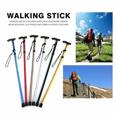 Aluminum Metal Walking Stick Easy Adjustable Folding Collapsible Travel Cane RY