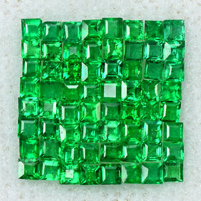 1.08 Cts Natural Top Emerald Loose Gemstone 1 upto 1.5 mm Square Cut Lot Zambia
