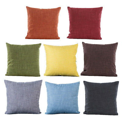 Solid Plain Cotton Linen Textured Cushion Covers Home Decor Throws