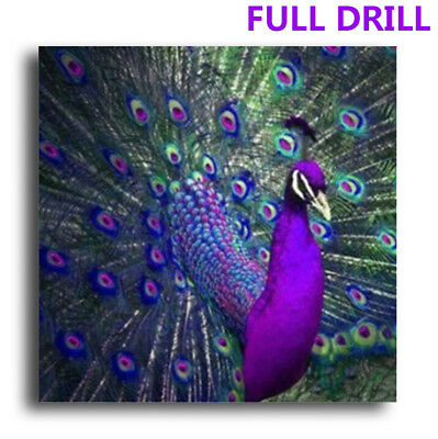 UK Full Drill Purple Peacock 5D Diamond Painting Embroidery Cross Stitch DIY Kit