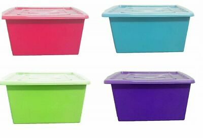 Plastic Storage Boxes Large Colored Containers Chest Toy Tool Craft Organizer