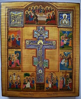 Russian Orthodox Icon - The Crucifixion + bronze cross + 2 icons, handpainted.
