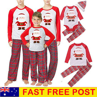 Family Matching Women Kids Baby Christmas Pyjamas Xmas Nightwear Sleepwear Sets