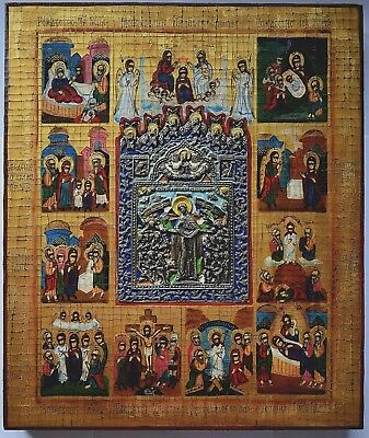Russian Orthodox Icon - Great Feasts of the Orthodox Church, handpainted.