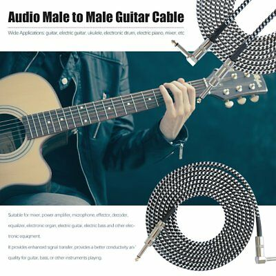 3M Guitar Lead 1 Right Angle Jack Noiseless Braided Tweed Instrument Cable FH