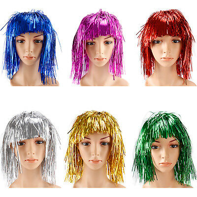 Unisex Kids Metallic Tinsel Wigs Fancy Dress Costume Hen Stag Party Accessory